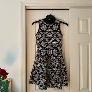 Patterned Black&Cream Dress